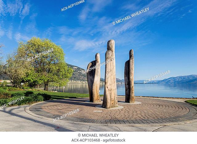 Sculpture titled 'Penticton Ancestors' by Michael Dennis, Penticton, Okanagan Valley, British Columbia, Canada