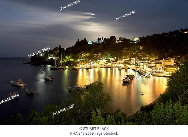 View over harbour at night, Loggos, Paxos, Ionian Islands, Greek Islands, Greece, Europe