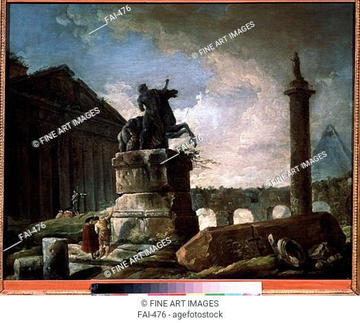 Ruins. Robert, Hubert (1733-1808). Oil on canvas. French Painting of 18th cen. . State A. Pushkin Museum of Fine Arts, Moscow. 54x65. Painting