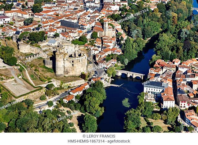 France, Loire Atlantique, Clisson, the Pont de la Vallee over the Sevre Nantaise river, the castle 13th-15th century, Notre Dame church and les halles (aerial...