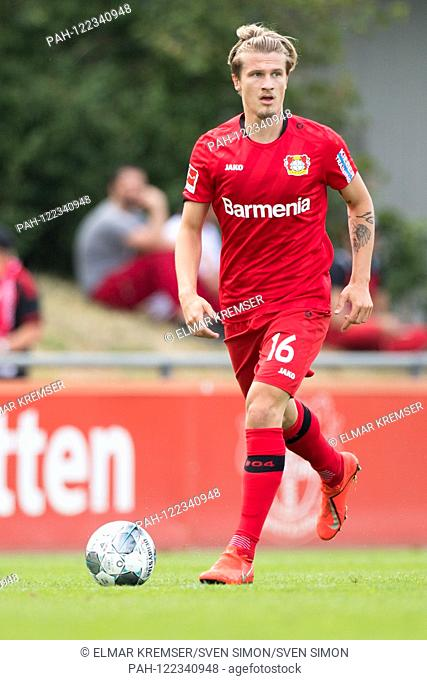 Tin JEDVAJ (LEV) with Ball, individual action with ball, action, full figure, portrait, football, friendly match, Bayer 04 Leverkusen (LEV) - AS Eupen (EUP) 3:...