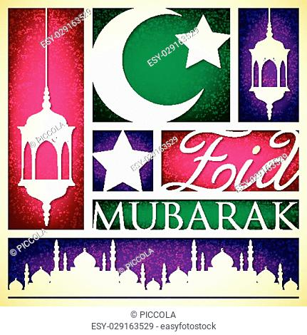 """Paper cut out """"""""Eid Mubarak"""""""" (Blessed Eid) card in vector format"""