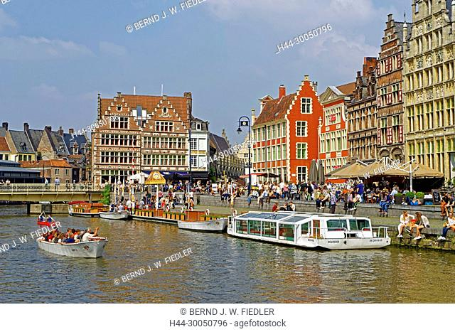 Leie, river, shore, building, historically, round trip ships, Ghent Belgium