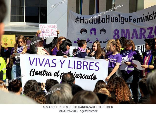March 8, 2019 - Rivas Vaciamadrid, Madrid, Spain - Muslim women participating in the women's day protests in Rivas Vaciamadrid on constitution square