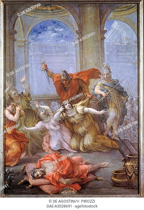 The Assassination of the Emperor Caligula, of his wife and his daughter, a series of paintings with scenes from the life of the Roman emperors