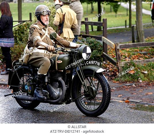 HOME GUARD RIDER ON BSA MOTOR CYCLE; PICKERING, NORTH YORKSHIRE; 16/10/2010