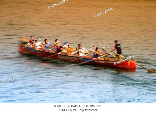 Watercraft rowing trainera  Portugalete, Biscay, Basque Country, Spain, Europe