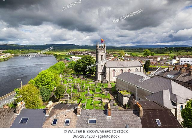 Ireland, County Limerick, Limerick City, elevated view of St. Munchin's Catholic Church