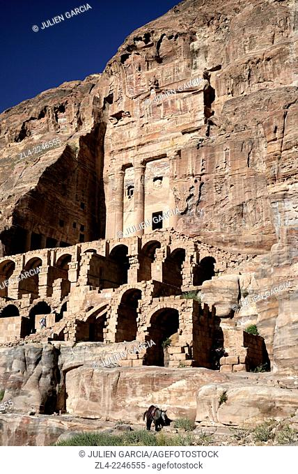 The Urn Tomb is part of the Royal Tombs carved in the mountain. Jordan (Hashemite Kingdom of), Ma'an Governorate (Maan), ancient city of Petra