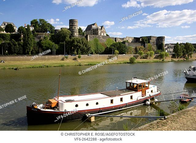 Europe, France, Maine et Loire 49, Angers, river and Chateau d'Angers