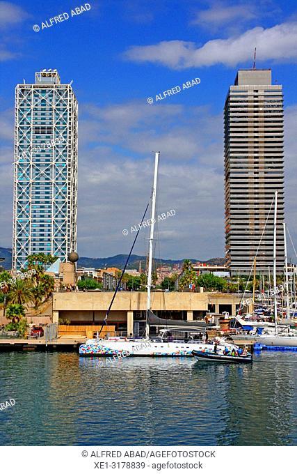 Pleasure boat, hotel Arts and Torre Mapfre, Barcelona, Catalonia, Spain