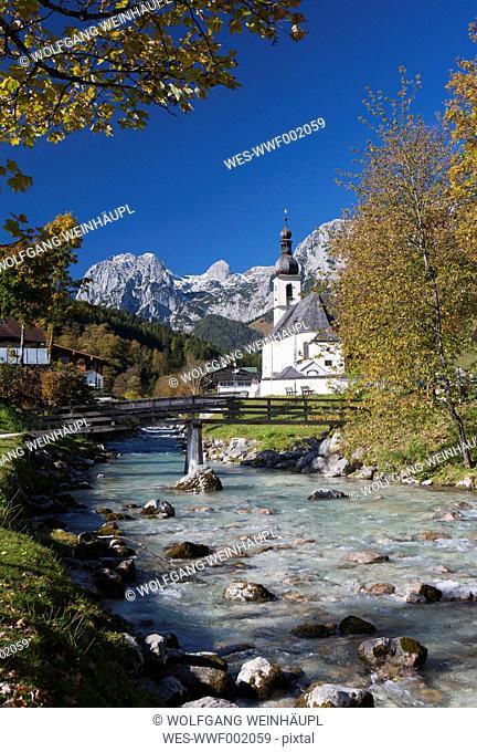 Germany, Bavaria,Ramsau, St Sebastian's Church with Reiteralpe in background