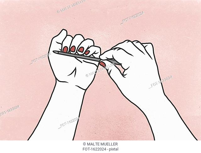 Cropped image of woman filing her fingernails against colored background