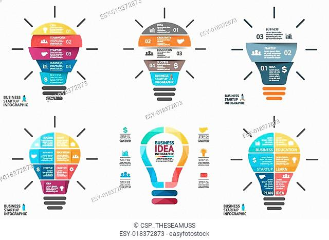 Vector light bulb infographic. Template for circle diagram, graph, presentation and round chart. Business startup idea concept with 4, 5, 6, 7 options, parts
