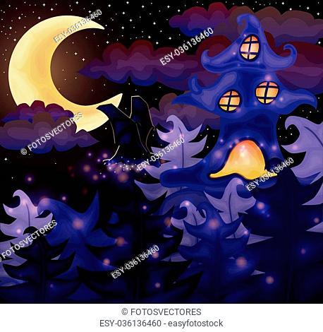 Halloween night wallpaper, vector illustration