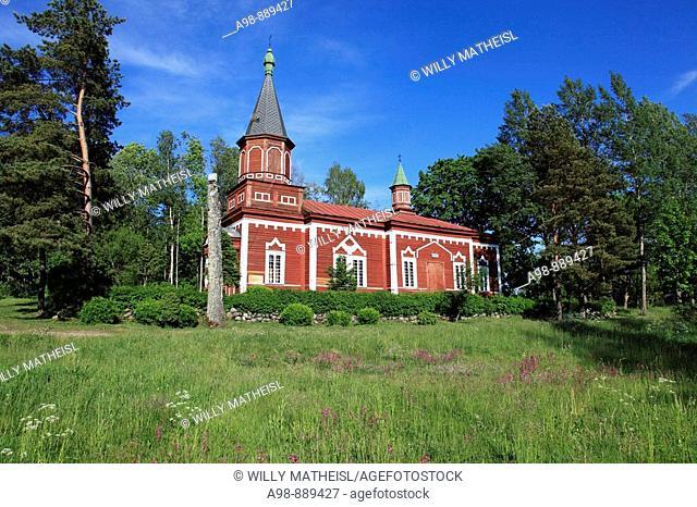 wooden church at Seliste, Estonia, Baltic Sea, Eastern Europe
