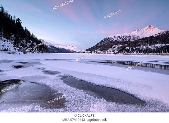 Piz Julier and Piz Da La Margna seen from frozen Lake Champfer, Silvaplana, canton of Graubunden, Engadin, Switzerland