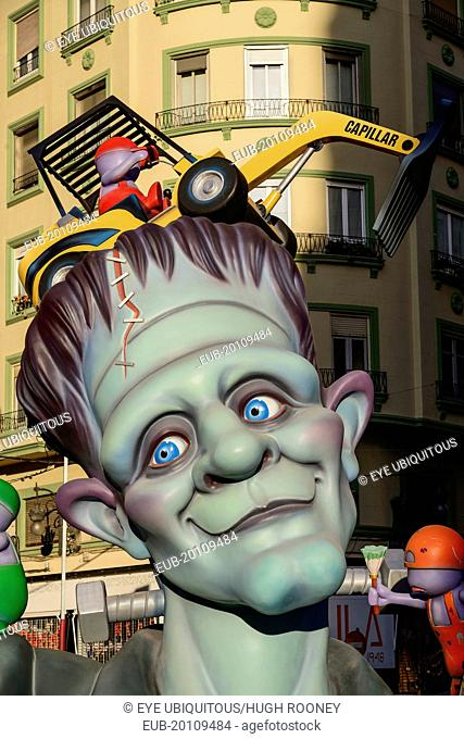 Papier Mache figure in the street during Las Fallas festival, Detail of face