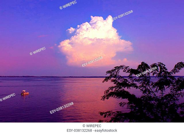 Beautiful view of twilight over Carlyle Lake from Eldon Hazlet State Park in Illinos