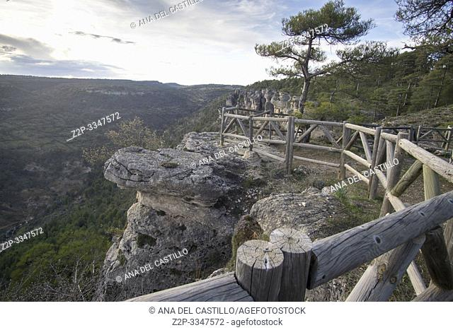 Panorama from viewpoint Cuenca mountains in Cuenca Castile La Mancha Spain