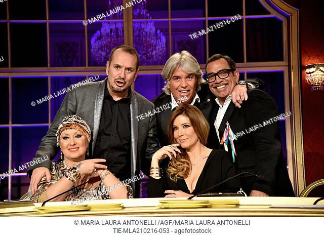 The jury Ivan Zazzaroni, Fabio Canino, Carolyn Smith, Selvaggia Lucarelli, Guillermo Mariotto during the talent Show ' Dancing with the stars ', Rome