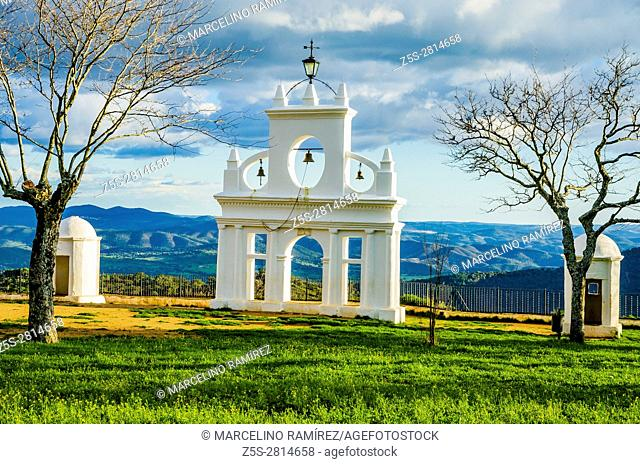 Picturesque steeple near the Hermitage of the Queen of the Angels or Hermitage of Our Lady of the Angels located inside the Rock of Alájar
