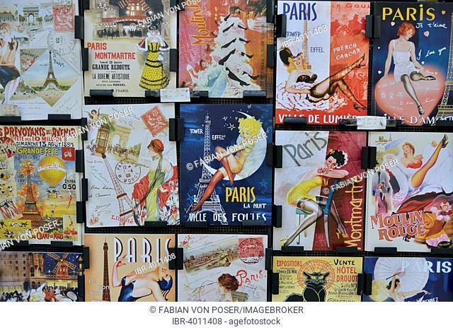 Posters at a kiosk, Eiffel Tower, Montmartre, Paris, France