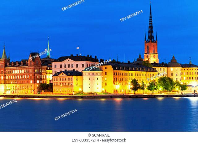 Summer night scenery of the Old Town (Gamla Stan) in Stockholm, Sweden