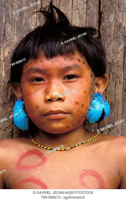Yanomamo Tribe boy portret, Venezuela, Parima Tapirapeco National Park