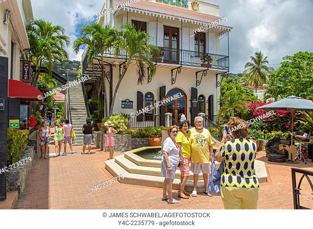 Tourist in Charlotte Amalie on the Caribbean island of St Thomas in the US Virgin Islands