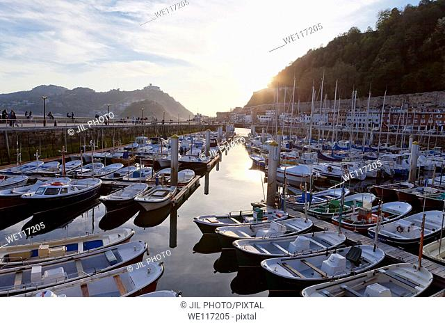 Boats moored in the port Port of Donostia-San Sebastian  European Capital of Culture 2016 Guipuzcoa, Basque Country  Spain