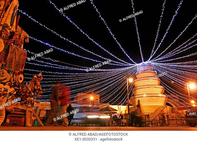 Ibn Chabbat Square with Christmas lights, Tozeur, Tunisia