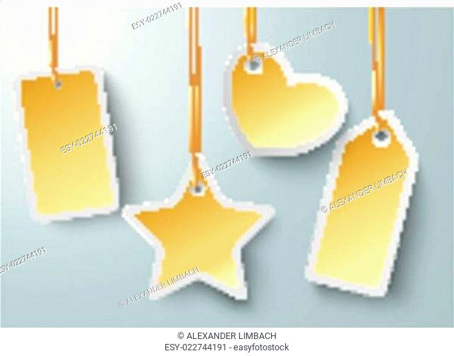 Golden Price Sticker Heart Star PiAd