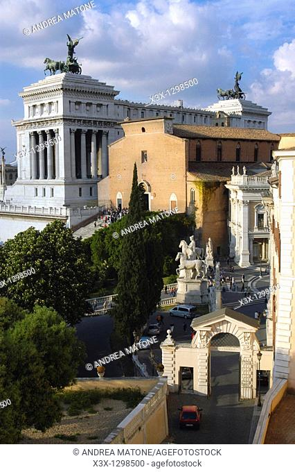 The back view of the Vittoriano with church Santa Maria in Aracoeli on the Capitoline Hill and Piazza del Campidoglio Rome Italy