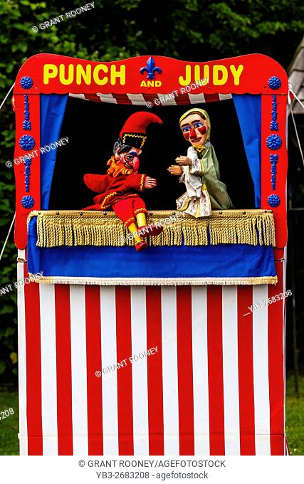 A Traditional Punch and Judy Show Performed At The Annual Medieval Fair Of Abinger, Surrey, UK
