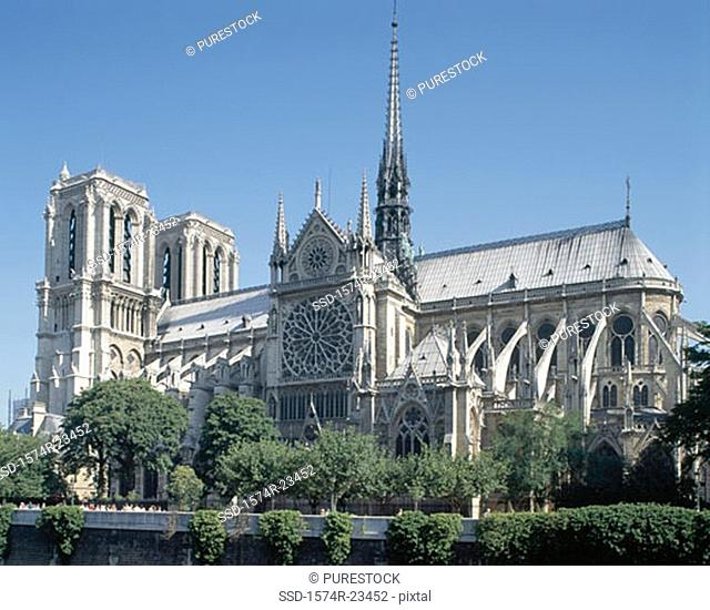 Facade of a cathedral, Notre Dame Cathedral, Paris, France