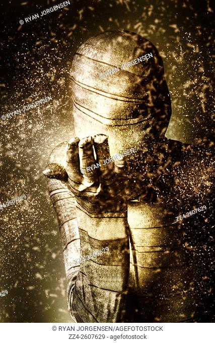 Egyptian tomb sarcophagus manifesting black magic with evil intentions. Curse of the mummy