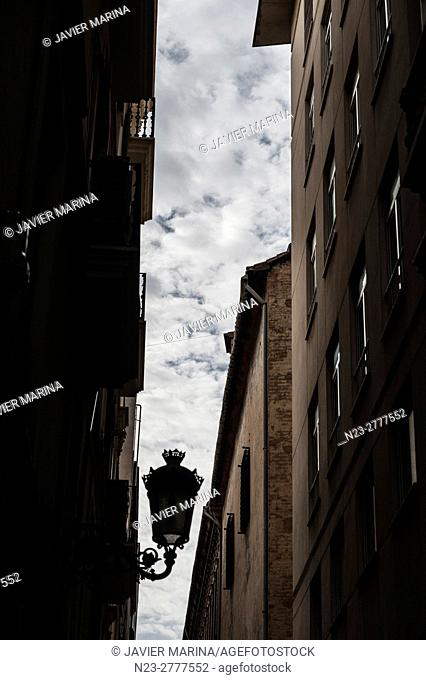 Narrow street and cloudy sky, VALENCIA, SPAIN