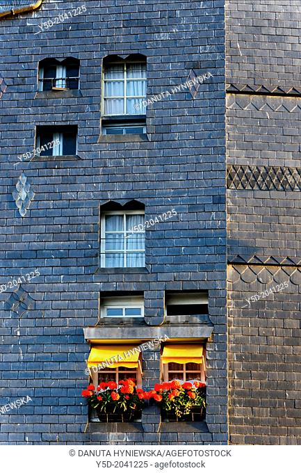 Facade of residential building, Honfleur, Calvados , Normandy, France