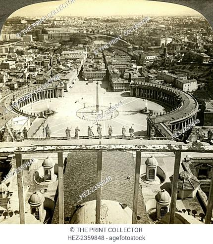 St Peter's Square from the dome of St Peter's Basilica, Rome, Italy. St Peter's Square was designed by Gian Lorenzo Bernini and built between 1656 and 1667