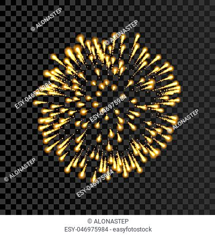 Firework gold bursting isolated transparent background. Beautiful night fire, explosion decoration, holiday, Christmas, New Year