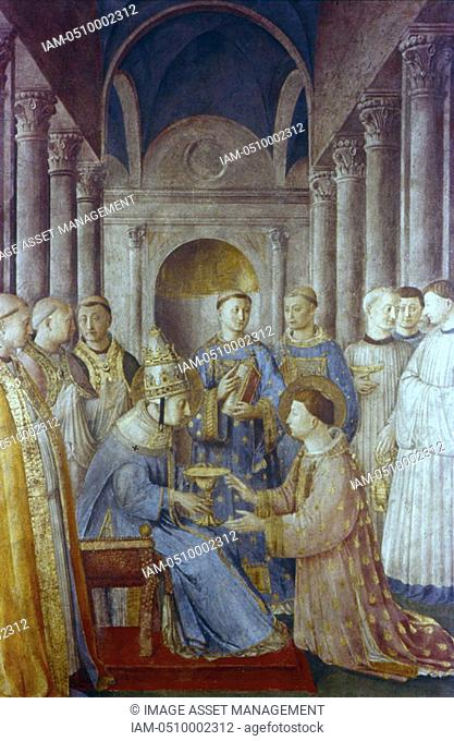 Fra Angelico Guido di Pietro/Giovanni da Fiesole c1400-55 Italian painter  'St Sixtus and his deacon St Lawrence' Pope Sixtus II d258 Fresco  Chapel of Nicholas...