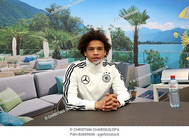 Germany's Leroy Sané gives an Interview during a media day in Ascona, Switzerland, 02 June 2016. Germany's national soccer squad prepares for the upcoming UEFA...