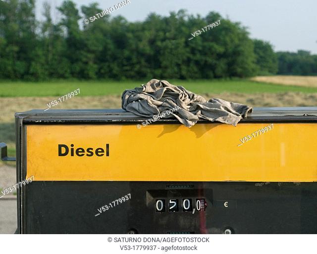 Rag on diesel petrol pump
