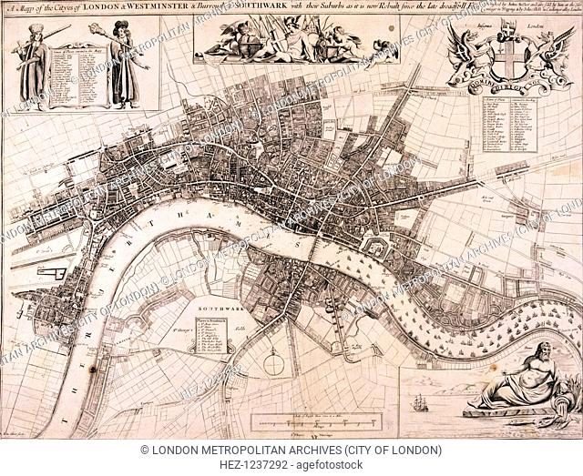 Map of the City of London, City of Westminster, Lambeth, Southwark and the River Thames, c1680