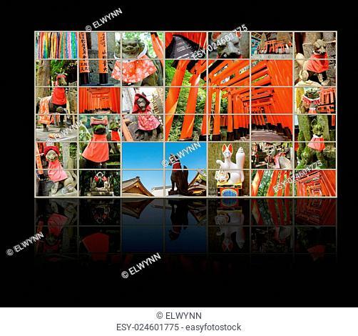 Collection of Fushimi Inari Taisha Shrine scenics in TV wall, fox statue, thousands of torii, paper cranes of thousand etc
