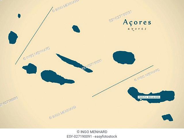 Modern Map - Acores Portugal PT illustration