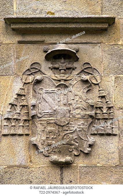 Santiago de Compostela (Spain). Coat of arms on the facade of the Cathedral of Santiago de Compostela