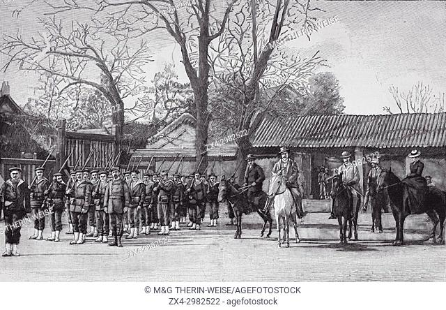 Beijing 1900, French legation protected by a troop of marine, Picture from the French weekly newspaper l'Illustration, 21 th July 1900