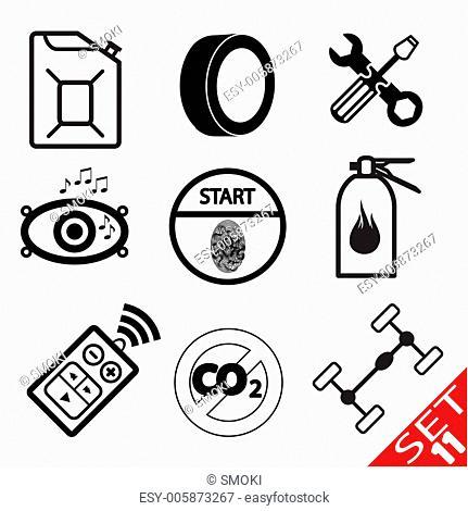 Car part icon set 11